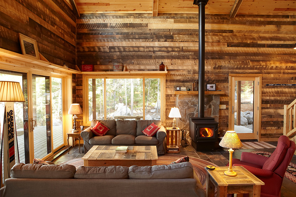Get cozy a rustic lodge style living room makeover for Decoration interieur de mobil home
