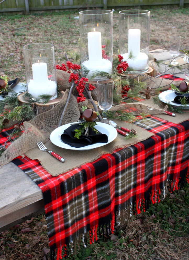 winter table plaid ideas patio dining how to rustic-dining-room