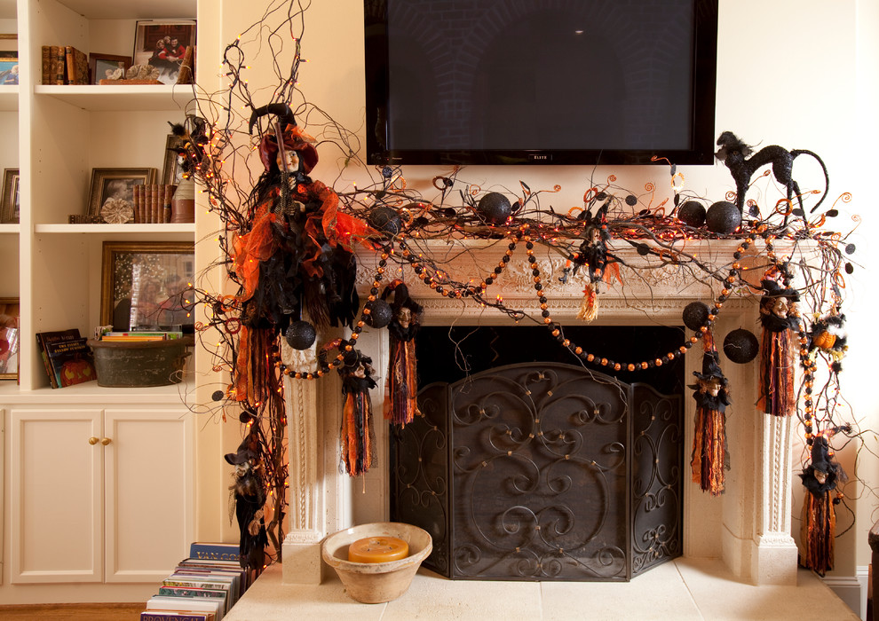 2 mantel halloween decor how to diy easy priject ideas orange black house ghosts garland lights