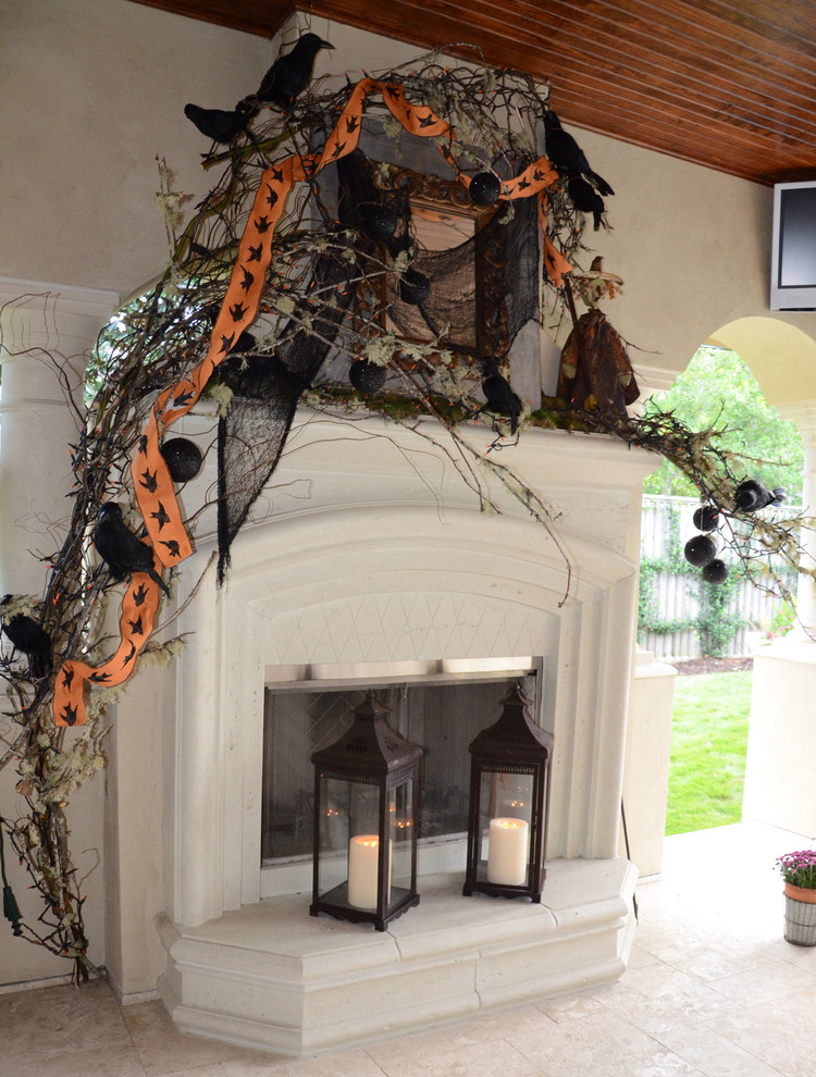 6 mantel halloween decor how to diy easy priject ideas orange black house ghosts garland lights