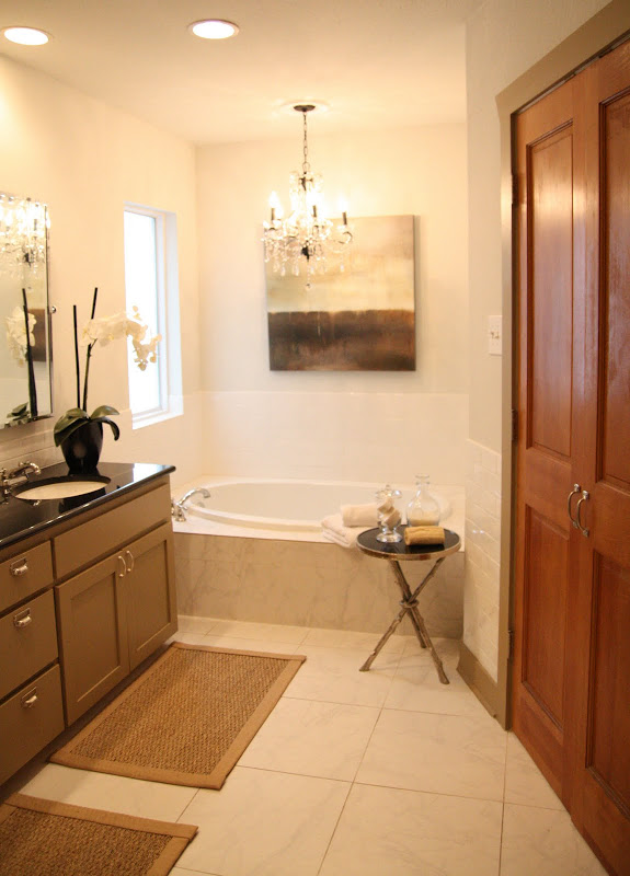 bathroom renovation chandelier bathtub better decorating bible blog ideas painting whie tiles taupe cabinets