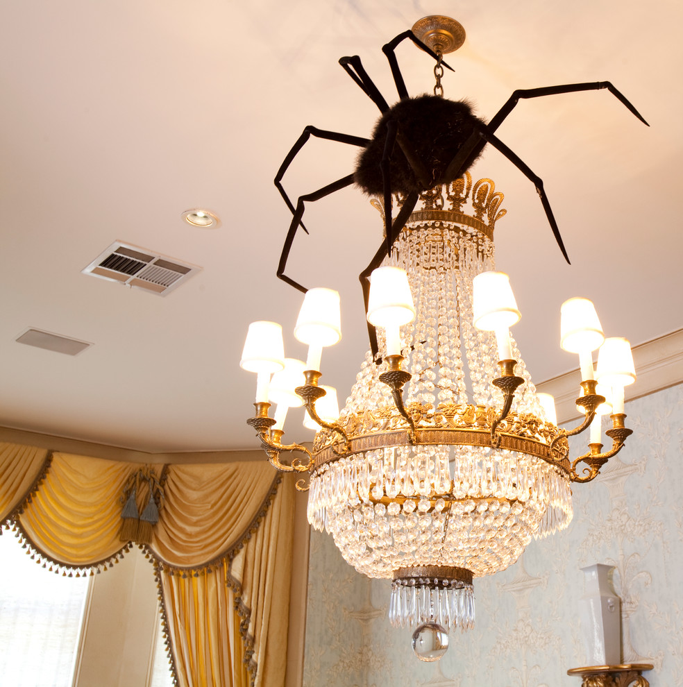 halloween spider diy decor chandelier hanging decorating home easy