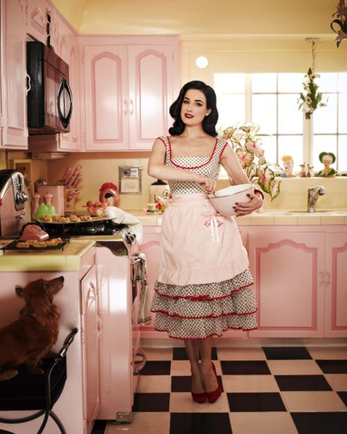 pin up dita von teese kitchen black and white tiles pink cabinets decor interior design home inside better decorating bible blog