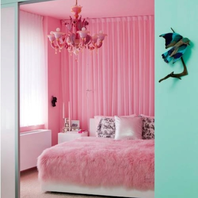pink fluffy decor bedroom interior design