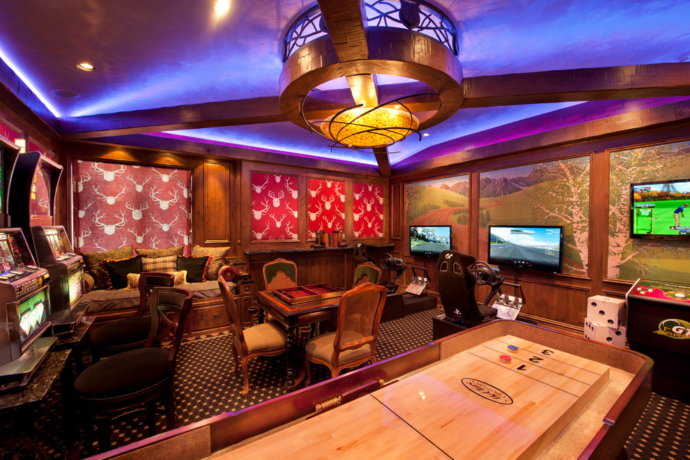 slot machines basement pool table entertainment room traditional-family-room