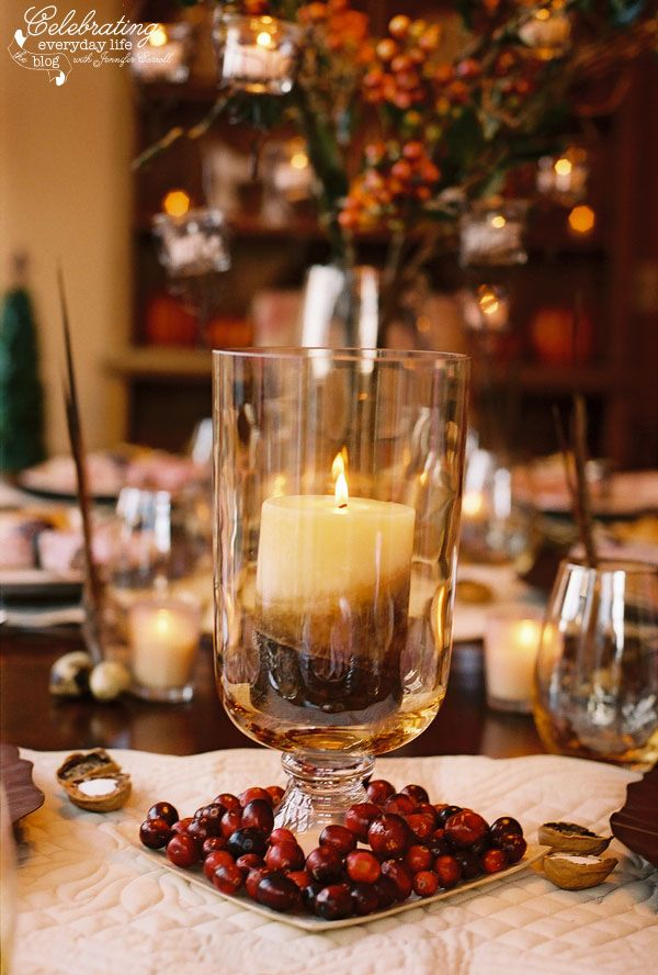 44 easy thanksgiving decor table how to candles centerpiece fall leaves pumpkins squashes dinin table front door projects last minute diy ideas vases place mats