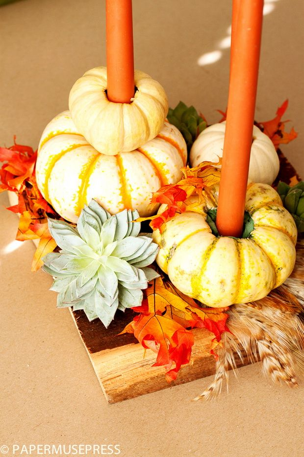 77 easy thanksgiving decor table how to candles centerpiece fall leaves pumpkins squashes dinin table front door projects last minute diy ideas vases place mats