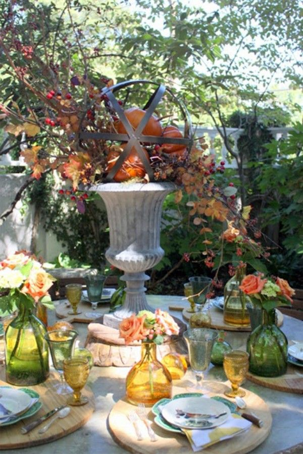 easy thanksgiving decor table how to candles centerpiece fall leaves pumpkins squashes dinin table front door projects last minute diy ideas vases place mats