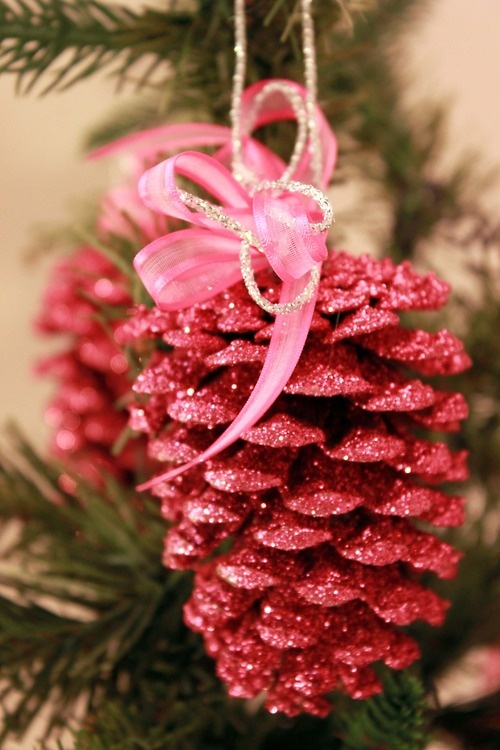 glitter pine cone christmas ornaments pink bow sparkles decorating diy
