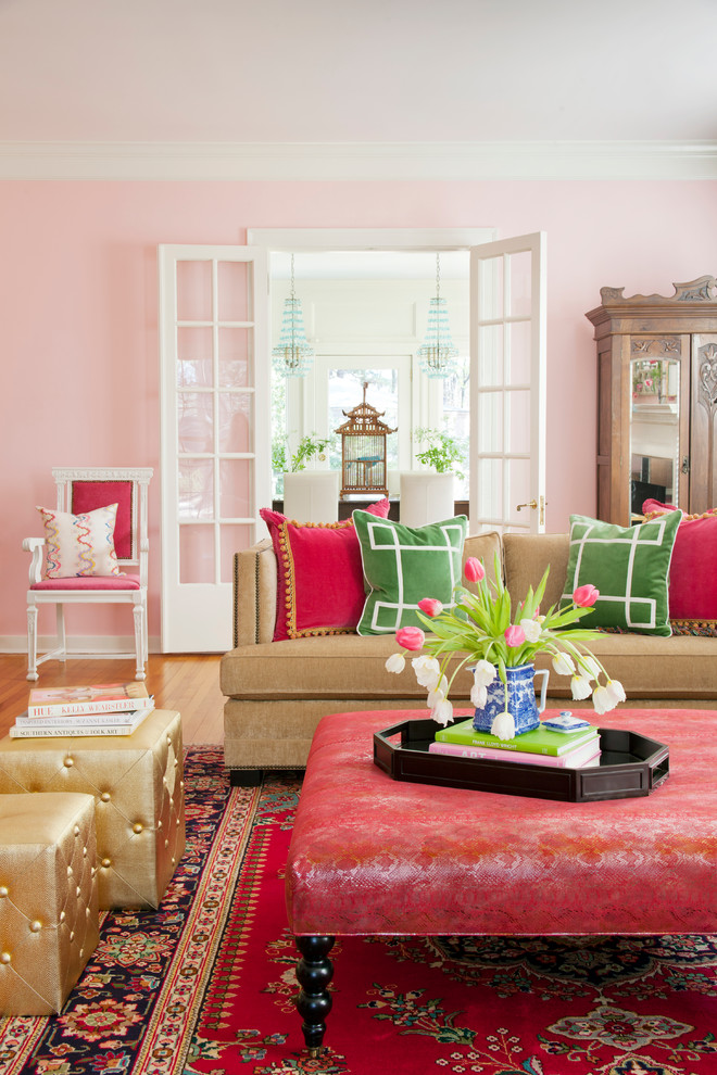 greek key pillows pink decor interior design blog ideas eclectic-living-room