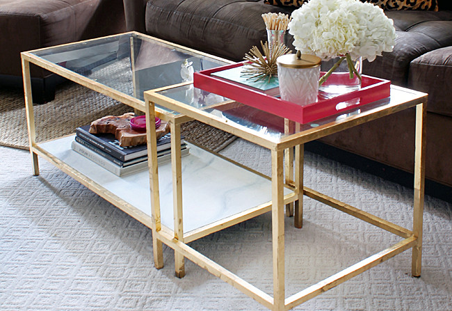 diy tuesday: easy gold ikea coffee table hack