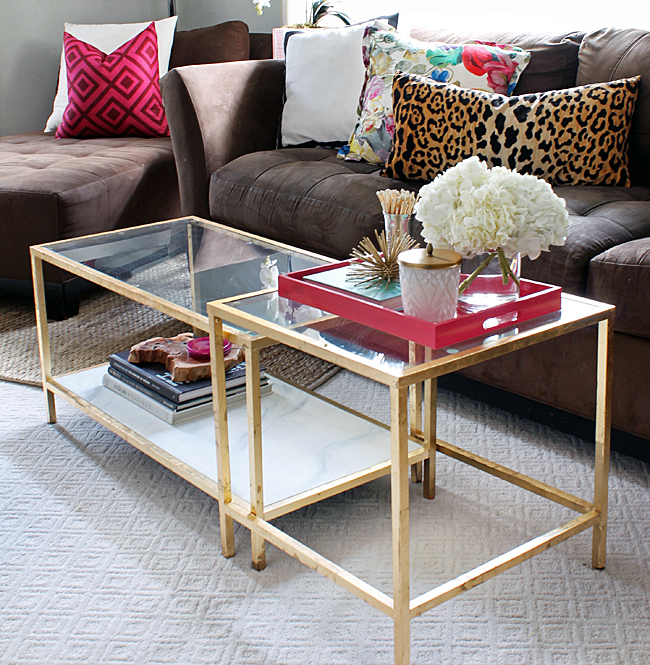 ikea hack diy Coffee Table gold spray paint how to budget easy makeover cheap marble faux fake metallic living room glass top better decorating bible blog