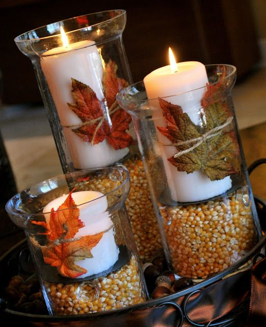 thanksgiving centerpiece acorn candle leaves corn diy holders easy budget last minute cheap