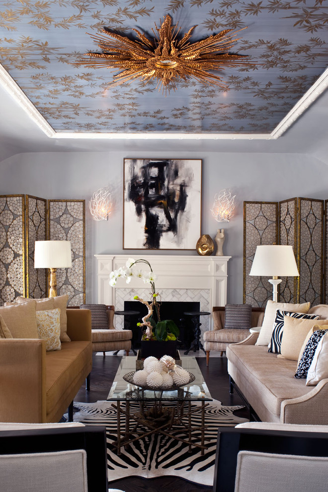 zebra hide rug suburst mirror ceiling eclectic-living-room