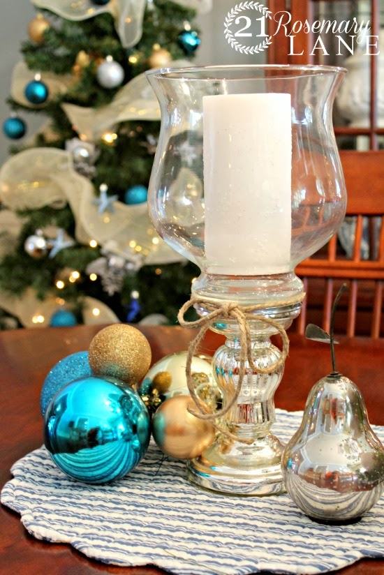 christmas holiday decorating easy how to candle glass holder galrand ornaments blue silver dining room 11