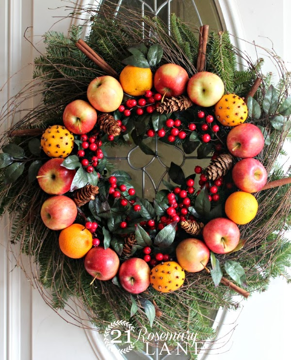 christmas holiday oranges apples cranberries garland front doorfruit wreath 5 a