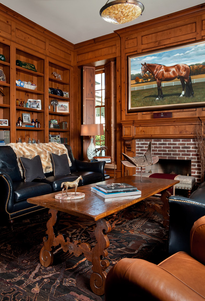 equestrian wooden panelling walls southern style traditional-living-room