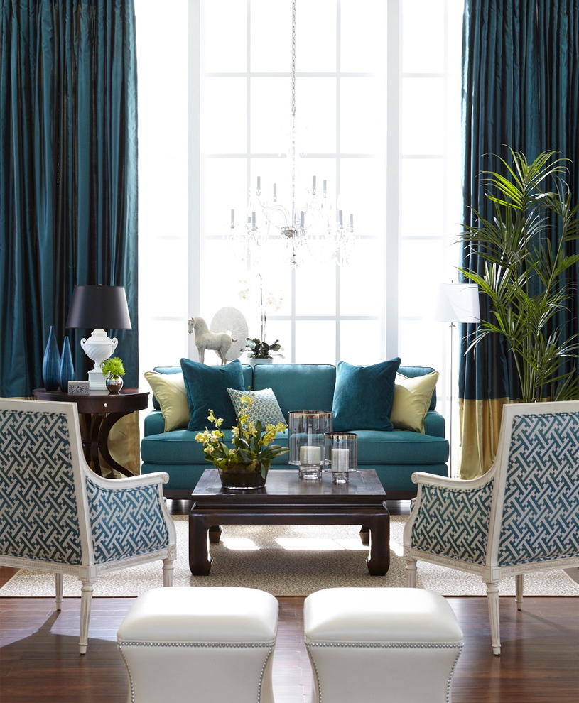living room blue curtains decorating