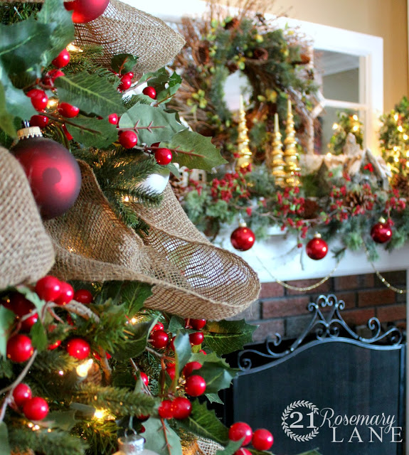 red ornaments cherry cranberries potatoe sack garland easy diy christmas mantel 5