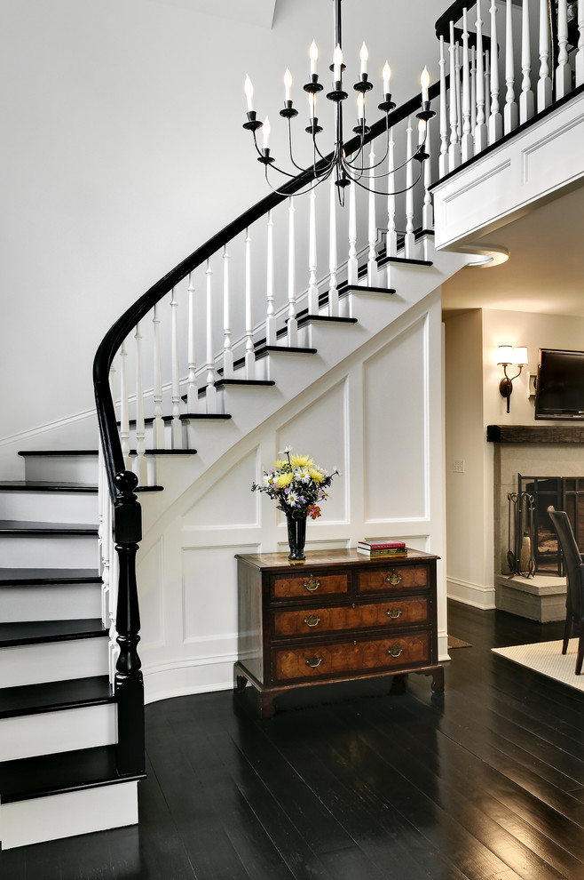 black hardwood traditional-staircase