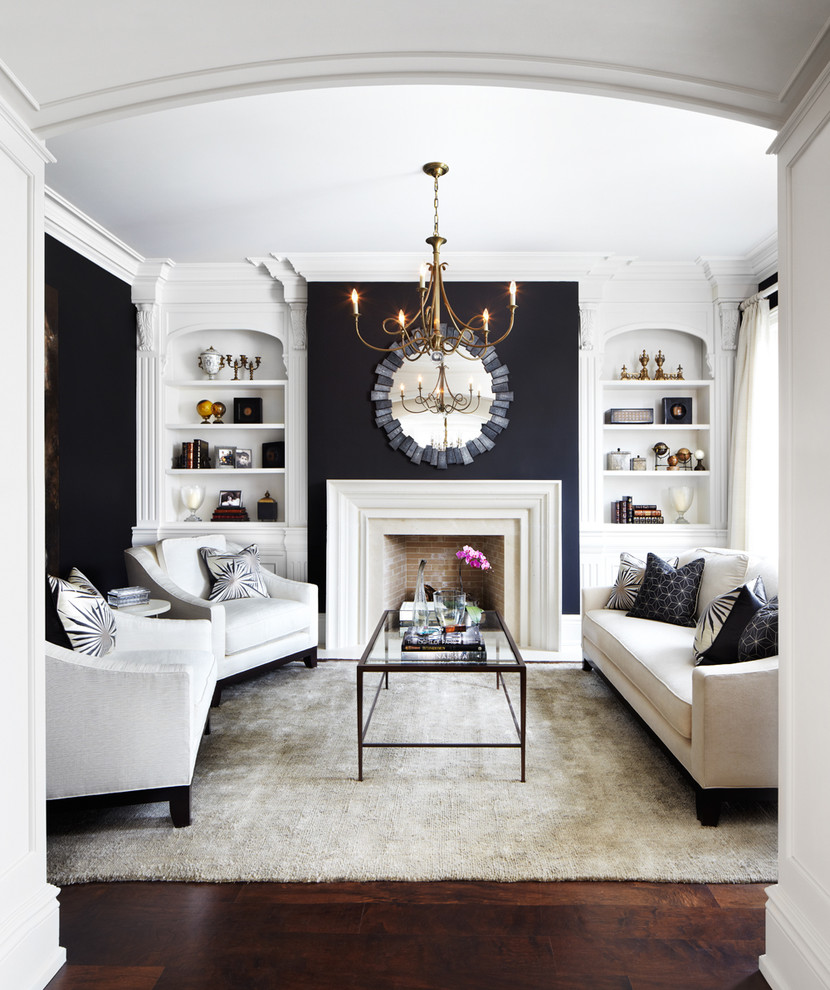 black walls paint hardwood gold chandelier fire place mirror mantel rug white modling contemporary-living-room