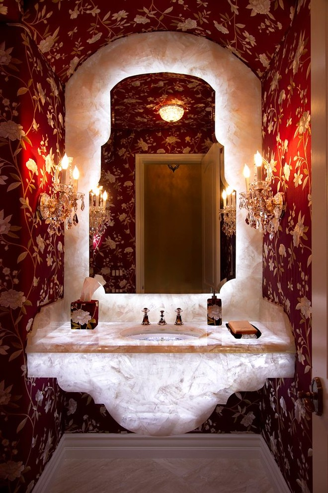 Red Valentines Flower Wallpaper Eclectic Bathroom