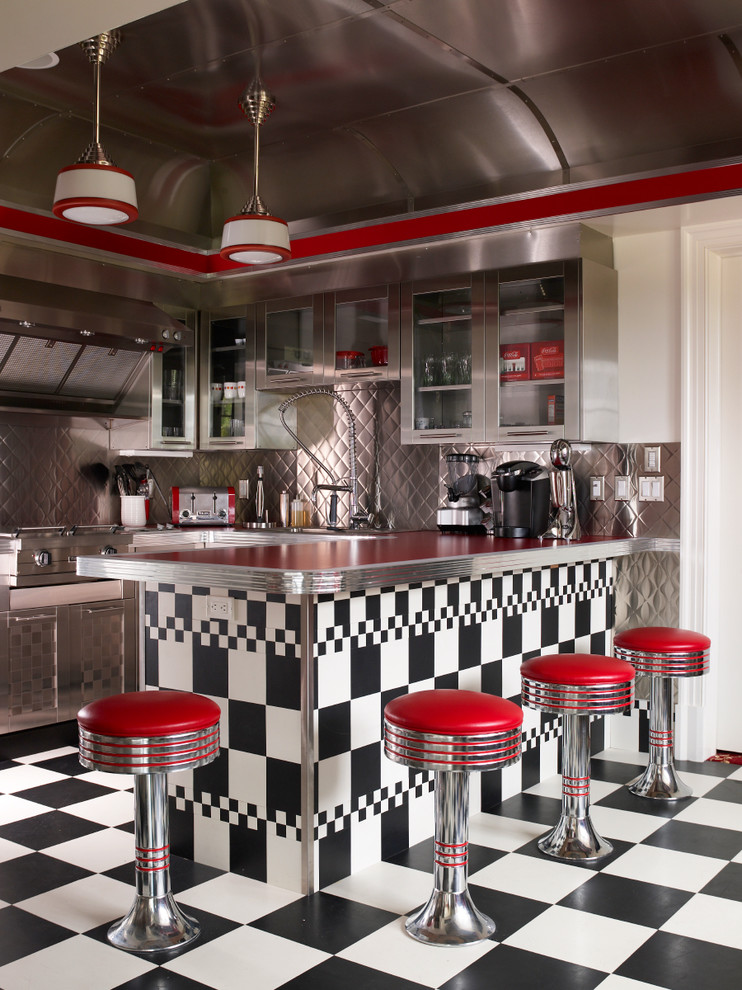 And white tiles floors red cococola vintage retro eclectic kitchen