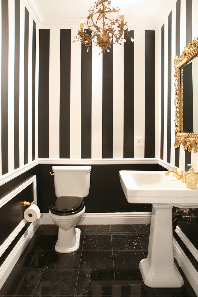 striped walls wallpaper molding gold chandelier traditional-powder-room