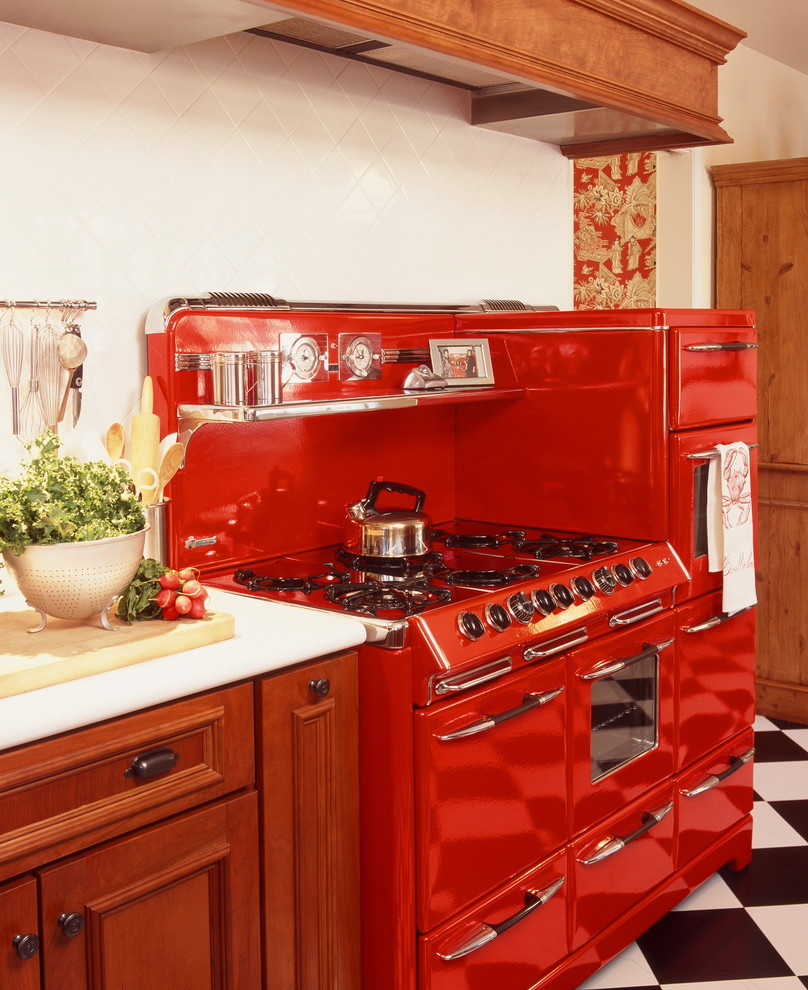 Vintage Red Stove Retro Style Decorating Traditional Kitchen