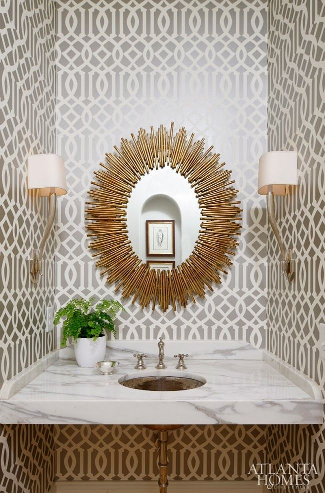 the inspired room atlanta homes sunburst mirror bathroom bathroomdrop dead gorgeous tropical