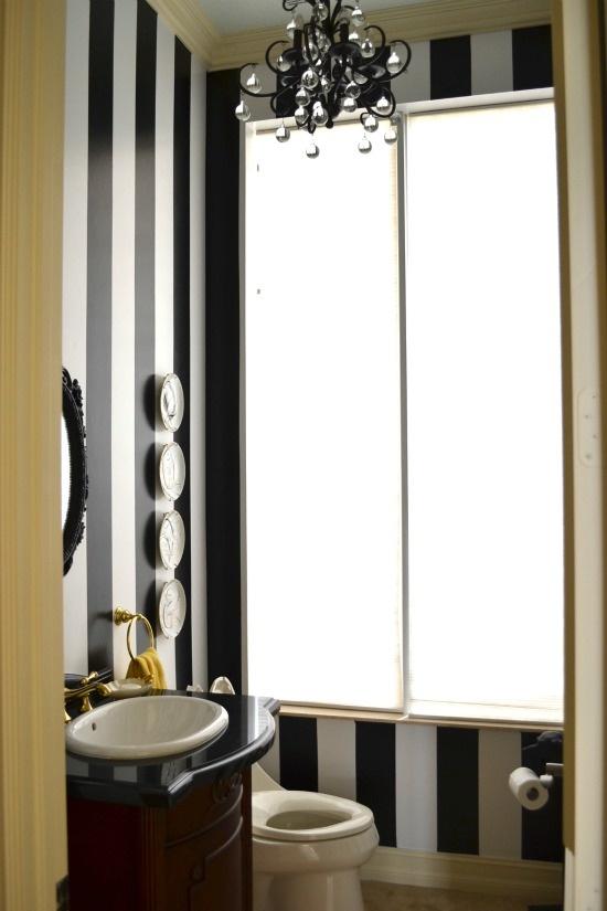 black white striped gold bathroom decor ideas chandelier