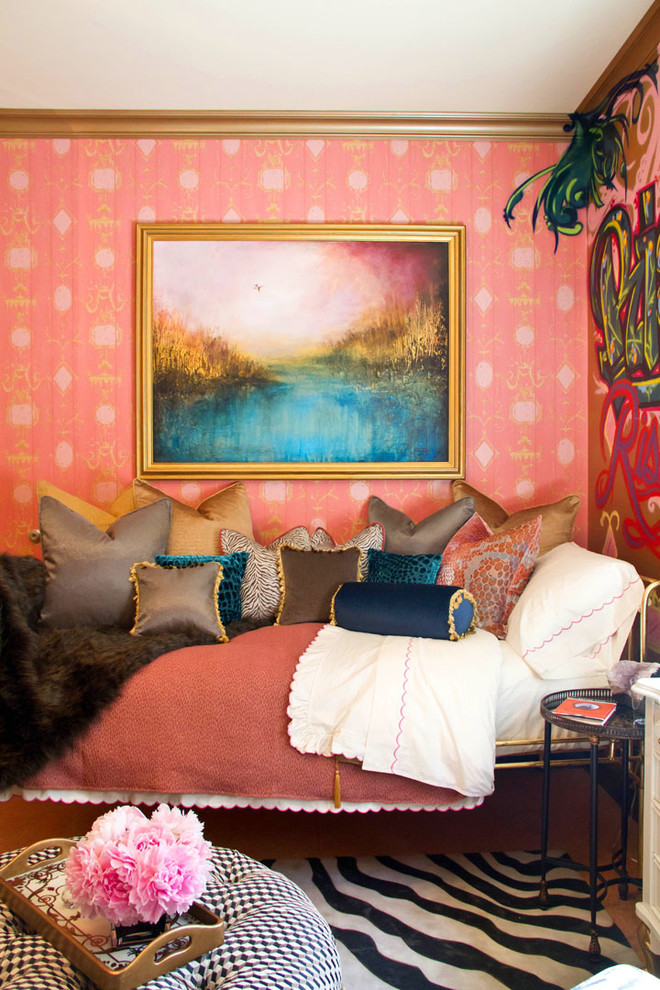 erica bierman better decorating bible blog zebra rug bojemian style wallpaper tassels gold eclectic-bedroom