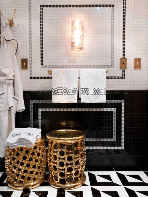 the decorista gold black tiled bathroom decor how to ideas luxurious towels
