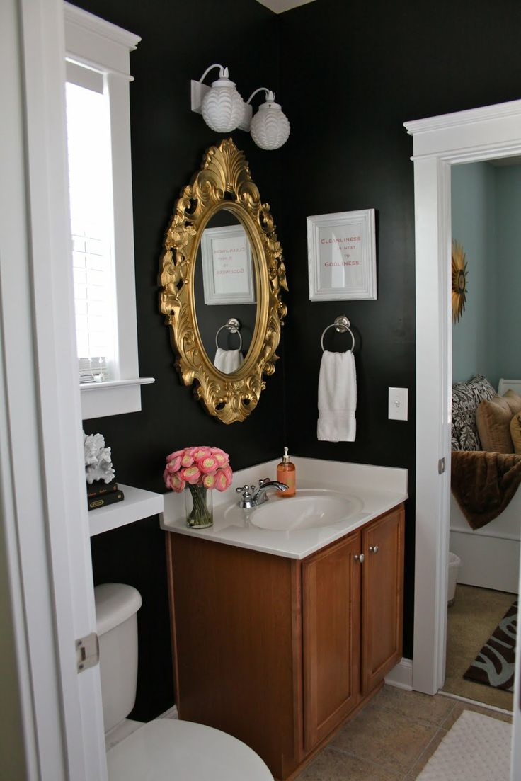 Bathroom mirror ideas diy - The Inspired Room Gold Black Bathroom Mirror Decor Diy Ideas How To Easy Makeover