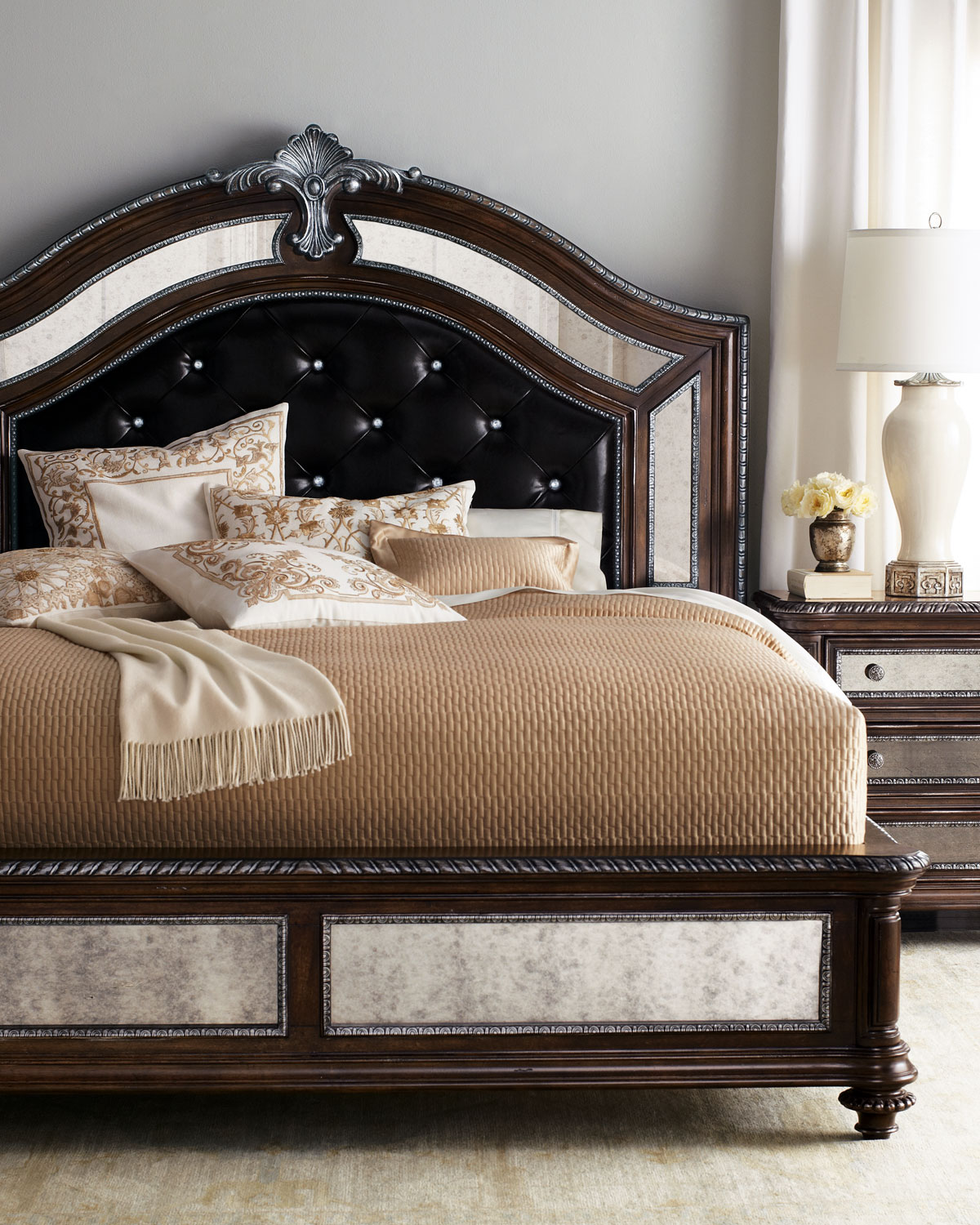 Style spotlight leather beds and headboards for Beautiful bed designs