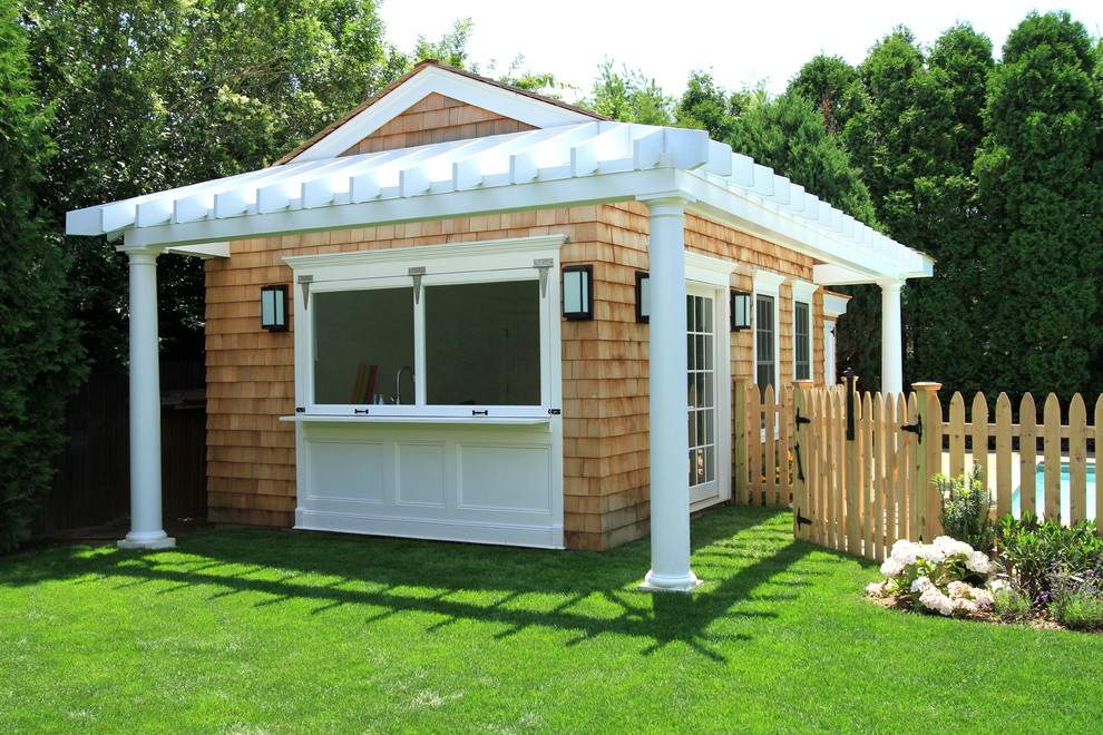 Turn your shack into a mini backyard bar for Garden pool sheds
