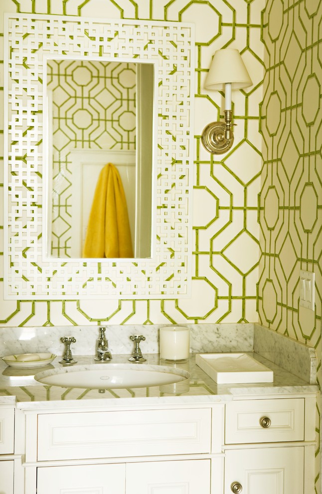 elizabeth dinkel green tropical wallpaper decorating Eclectic-Powder-Room