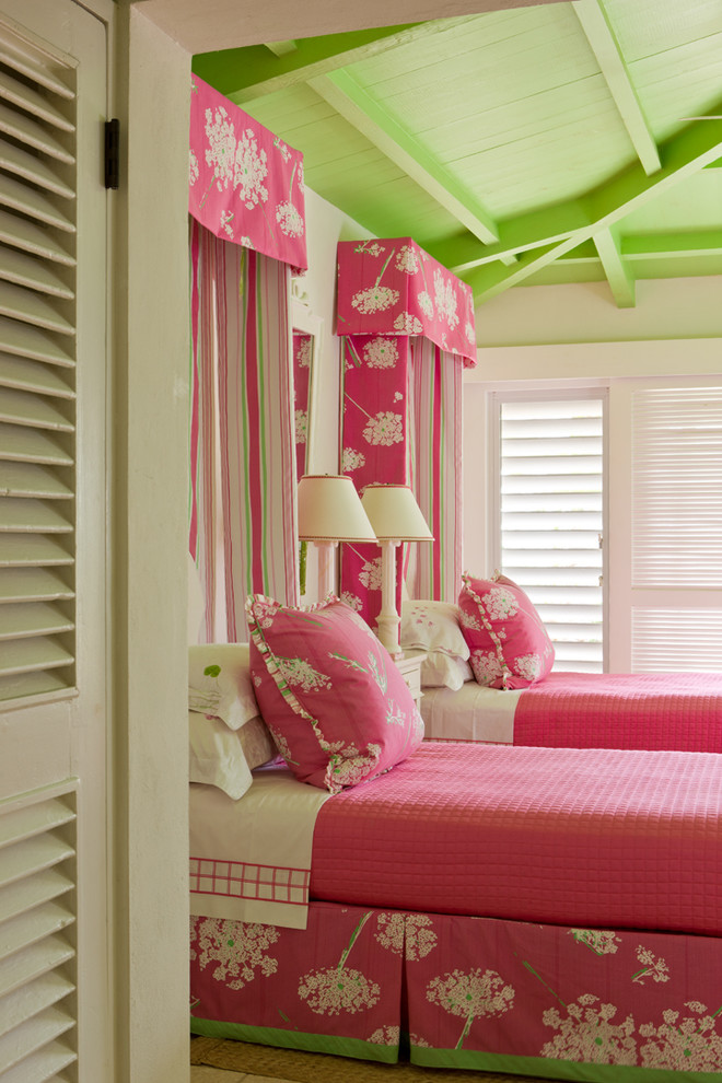 gary mcbournie bedroom girly pink green decorating ceiling blog floral prints summer