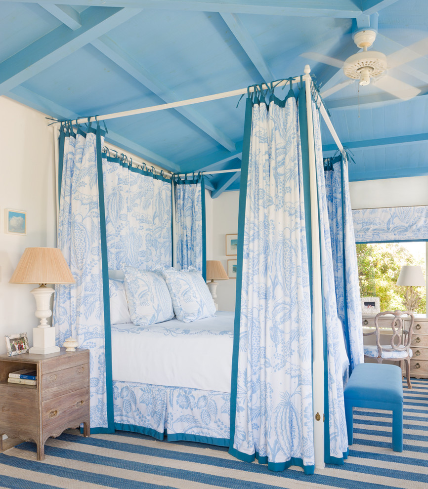 gary mcbournie tropical bedroom blue canopy bed ceiling decorating ideas striped carpet