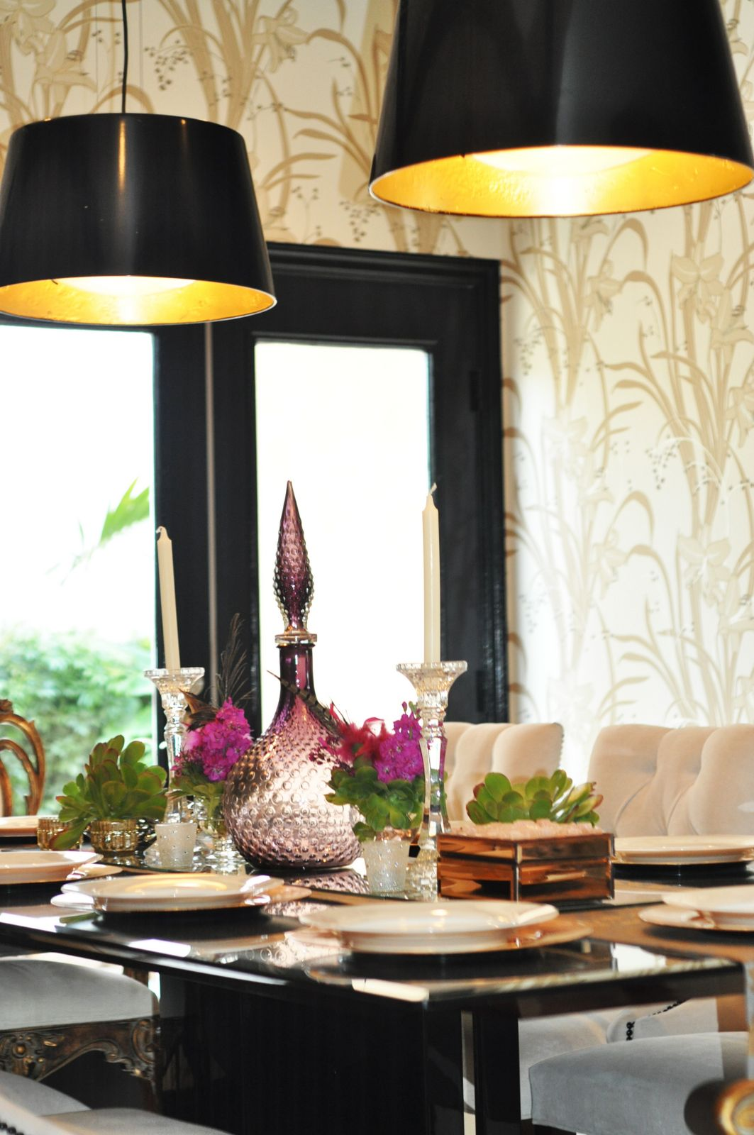 gold gilded drum lamps black painting ikea hack project makeover dining room easy