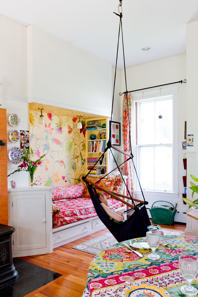 hammock bedroom bright floral rug Eclectic-Kids