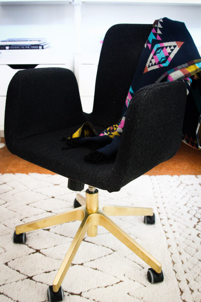 ikea chair office makeover hack diy black gold legs spray paint cheap chic budget decor home