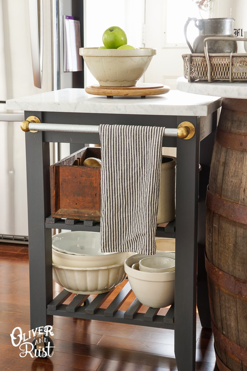 kitchen bar cart ikea hack makeover project gold marble top how to decorating easy cheap budget