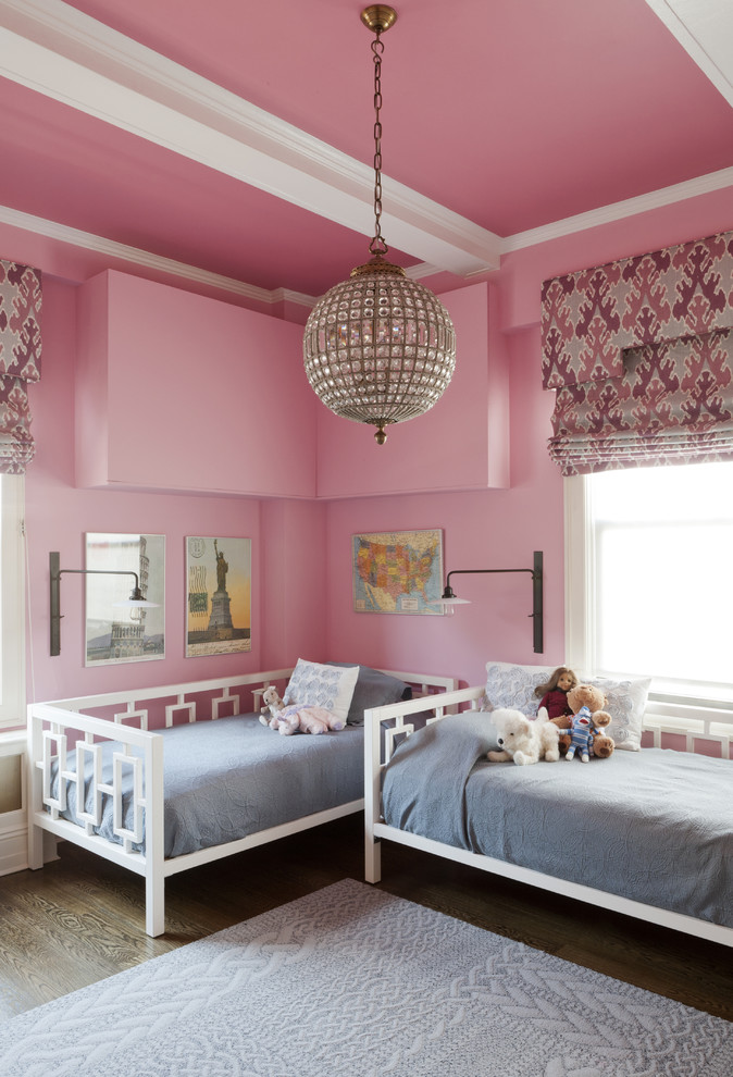pink girls bedroom chandelier Eclectic-Kids