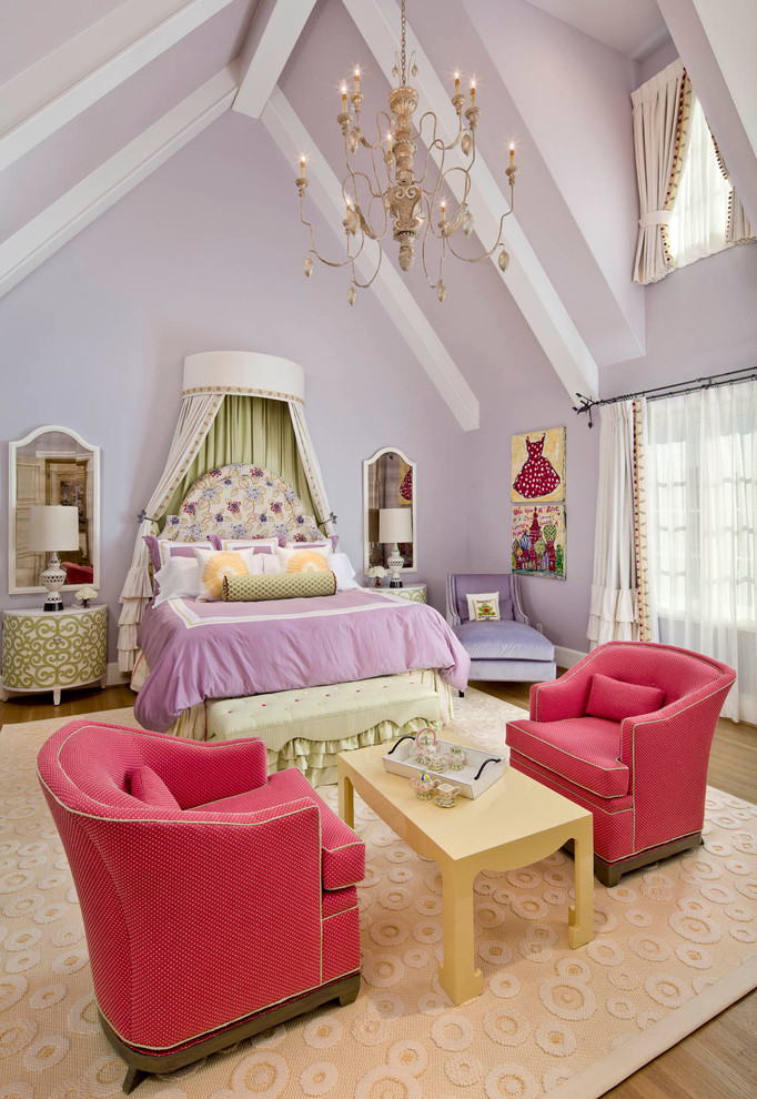 princess bedroom chandelier tufted headboard purple violet walls Traditional-Kids