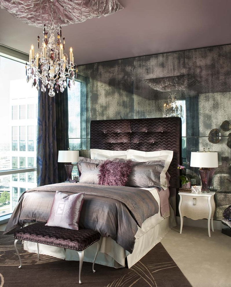 purple headboard tufted french chandelier mirroed walls silk fur pillow end bench Eclectic-Bedroom