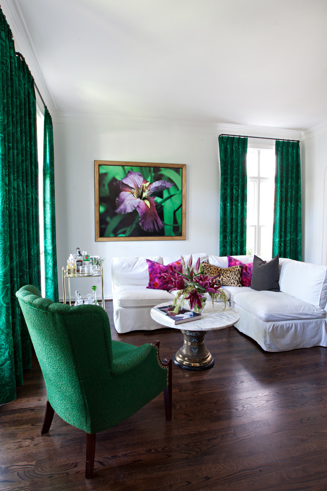 sally wheat living room malachite curtains fabric leopard pillow decorating white walls hardwood flooring