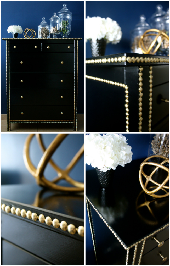 studded black ikea dress gold studs lacquer diy project easy makeover hack chic