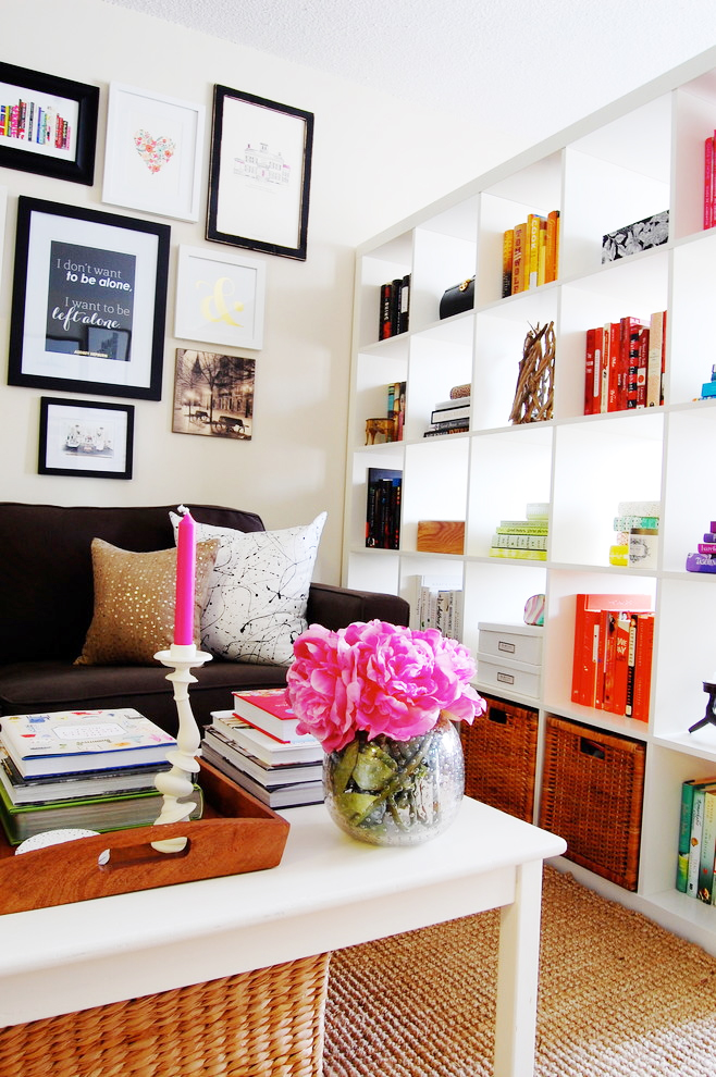 apartment bookcase devider small space sisal carpet better decorating bible blog eclectic-Family-Room
