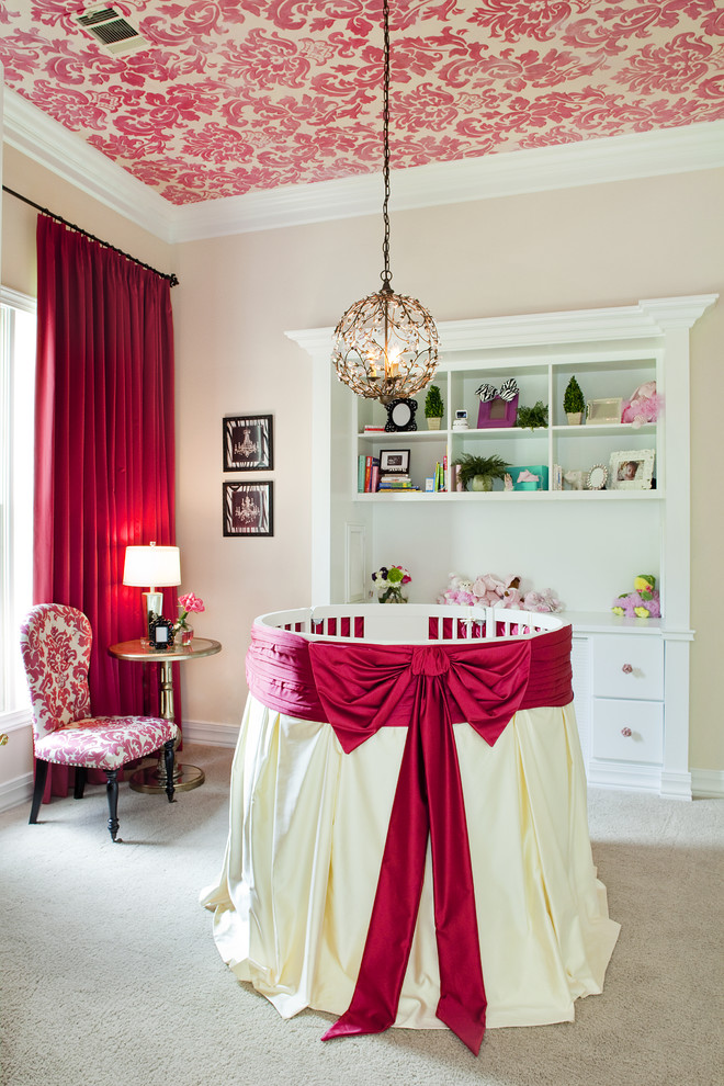 babys room damask ceiling red ribbon decorating ideas better decorating bible blog Traditional-Nursery